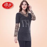 浪莎保暖内衣 女士烫钻加厚加绒美体豹纹保暖内衣 高领外穿长款打底衫Z57246