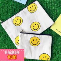 韩国夏日笑脸菠萝印花可爱日系原宿少女帆布手拿包零钱包化妆小包