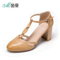 茵曼女鞋18年春季一字扣圆头凉鞋中空单鞋女粗跟高跟鞋4882044116