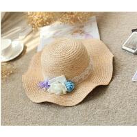 韩版拉菲草帽子小花朵拉菲草草帽波浪边大檐帽优雅花朵草帽