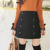 (拍下12)柔柔家半身裙女2017韩版高腰显瘦百搭高腰毛呢短裙