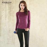 【岁末狂欢价】Kombucha瑜伽健身套装女士修身显瘦速干吸汗跳操健身跑步长袖长裤两件套KX8039