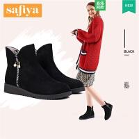索菲娅秋冬新款舒适坡跟侧拉链短靴女SF84116061