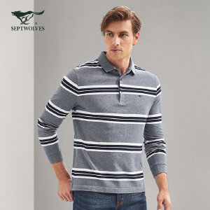 七匹狼T恤 17年秋季新品 中青年男士时尚休闲纯棉条纹翻领长袖T恤