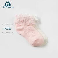 【99选3件】迷你巴拉巴拉女童宝宝袜子2018新款儿童夏季透气短袜两条装