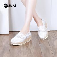 jm快乐玛丽2018春季新款休闲厚底镂空鞋平底坡跟渔夫鞋女布鞋81128W
