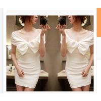 夏天韩版学生衣服女小礼服夜店性感一字领包臀夏装露肩连衣裙子潮