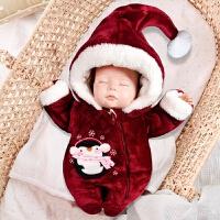 冬季刚出生新生婴儿冬季外出抱衣初生宝宝连体衣秋冬套装保暖夹棉加厚秋冬新款