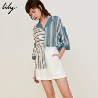 夏新款轻薄人造丝不规则拼接条纹七分袖衬衫