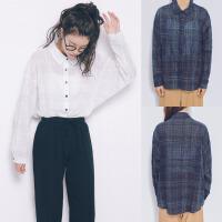 200斤胖MM春装韩版学院风格纹长袖衬衣加肥加大码宽松薄衬衫外套