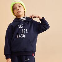 【2件3折价:134.7】巴拉巴拉旗下巴帝巴帝2019年冬男童中大童儿童运动风加绒卫衣连帽套装