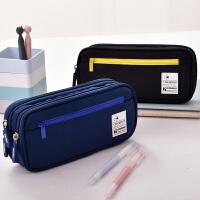 得力学生文具笔袋韩国文具盒简约女生多层时尚男大中小学生大容量