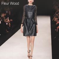 FLEUR WOOD2017秋装新款女欧美修身蕾丝打底衫无袖皮裙连衣裙套装