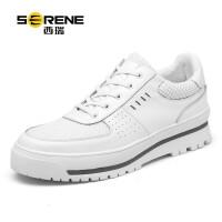 西瑞休闲鞋男士英伦板鞋潮流小白鞋软底舒适厚底增高鞋透气皮鞋男6378