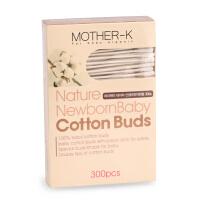 韩国原装Mother-K婴幼儿宝宝纯棉安全棉花棒双头棉签 抗菌 300枚