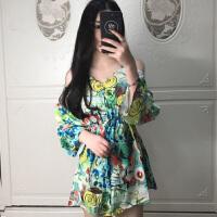 日韩泰国潮民族风2018印花新款花色油画风格露肩性感旅行连衣裙潮
