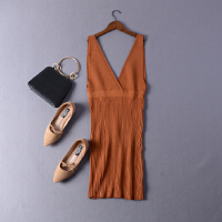 【CP】I14秋季韩版V领无袖时尚性感针织连衣裙