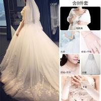 韩版2018新款长拖尾婚纱礼服新娘结婚一字肩孕妇齐地蕾丝公主冬季 XXX