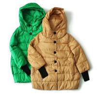 女装冬装新 东大门纯色单排扣女长袖外套夹棉