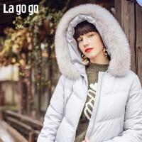 【5折价978】Lagogo/拉谷谷2018新款初恋记忆连帽羽绒服女HCYY33XC77