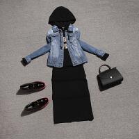 安妮纯2019秋装新款时尚女装牛仔外套卫衣裙子连衣裙两件套时髦套装欧货