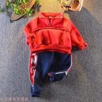 冬季男童冬装套装2018新款1男宝宝2婴儿童3岁4洋气加绒加厚卫衣两件套秋冬新款