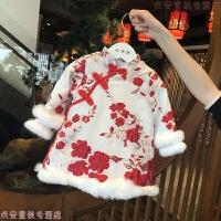 宝宝旗袍冬女童唐装中国风儿童新年装过年喜庆拜年服婴儿周岁礼服 新年红(预售5号到货) 提花旗袍裙-加绒