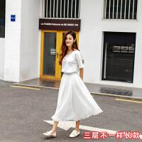 黑色裙子2018新款女雪纺长裙夏高腰a字裙中长款春秋网纱裙 白色 常规三层款白色