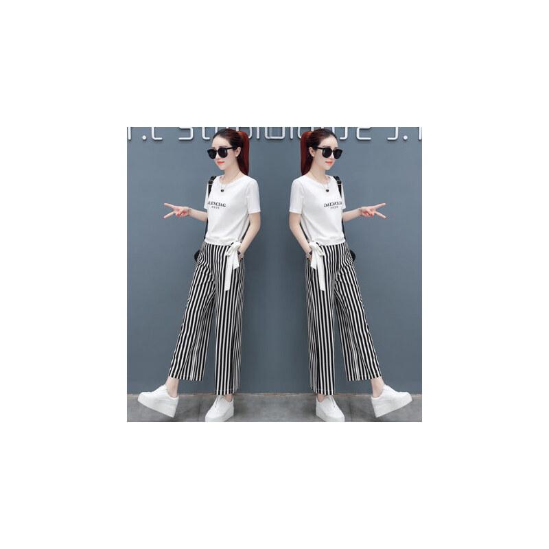 哆哆何伊时尚阔腿裤套装女短袖韩版2018夏季新款女神范裤子两件套洋气女装