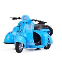 Q版挎斗式三轮摩托车合金车模 儿童玩具声光回力可爱模型车