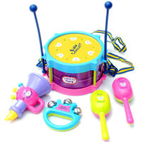 欢乐乐器套装5件腰鼓/沙锤/小号/手摇铃铛儿童乐器组合玩具 欢乐鼓 5件套