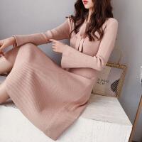 网红毛衣女中长款甜美小清新针织连衣裙慵懒风秋冬内搭打底衫可爱