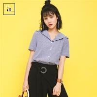 【一口价29元】短袖衬衣拉夏贝尔7m2017夏装新款韩版小清新宽松外穿细条纹衬衫女70007852