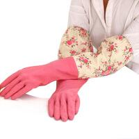 家务手套 乳胶清洁手套 轻便束口花袖手套单层颜色随机