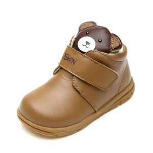SHOEBOX/鞋柜 冬款小孩鞋可爱小熊加厚皮鞋男童鞋