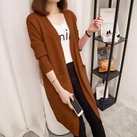 慈姑中长款长袖针织衫外套新款秋冬季女装纯色大码毛衣开衫外搭打底衫