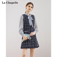 【2件1.5到手价262】拉夏贝尔 韩版小香连衣裙女2021年春装新款
