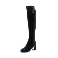 星期六(ST&SAT)冬季专柜同款绒面羊皮革/织物高跟长靴SS84117826