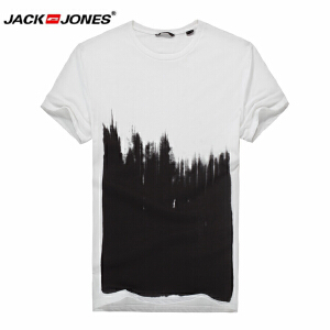 杰克琼斯/JackJones时尚百搭新款T恤 黑白-2-2-12-215101031023