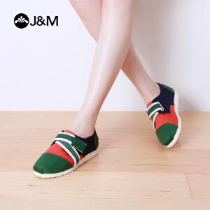 jm快乐玛丽秋季平底魔术贴平色低帮浅口帆布鞋学生鞋女鞋子