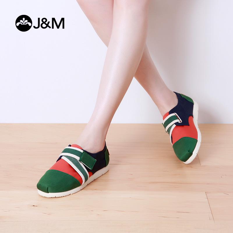 jm快乐玛丽夏季平底魔术贴平色低帮浅口帆布鞋学生鞋女鞋子52026W