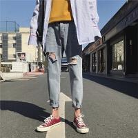 牛仔裤男破洞个性猫须男裤潮流2018夏季薄款韩版百搭修身小脚裤子