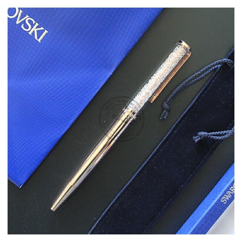 2019施华洛世奇Swarovski水晶笔圆珠可换中性笔芯玫瑰金5224390