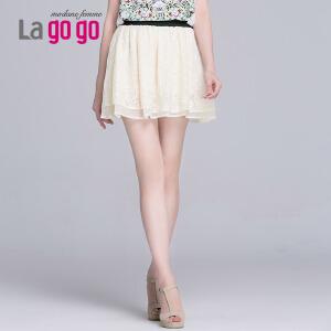 Lagogo/拉谷谷夏季蕾丝拼色纱网双层抽褶A字百搭半裙