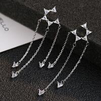 个性925银针三角锆石流苏耳环超仙耳饰女士耳坠 一对价(925银针)