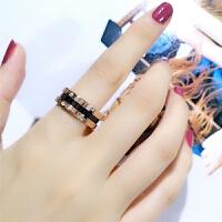 女玫瑰金韩版陶瓷钛钢戒指女大气潮人食指戒指
