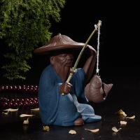工艺品姜太公钓鱼礼品陶瓷摆件创意中式人物居家装饰茶宠酒柜书架装饰摆件SN6584