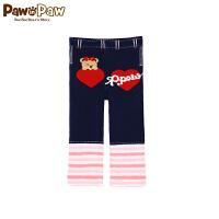Pawinpaw卡通小熊童装夏款婴幼儿男女宝宝条纹撞色长裤萌