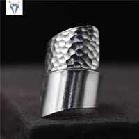 泰国手工纯银复古夸张敲面戒指 女光面简约S925指环