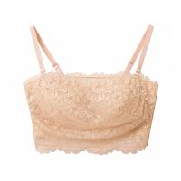 无钢圈抹胸式文胸 夏季防上薄下厚款蕾丝内衣 女聚拢侧收胸罩